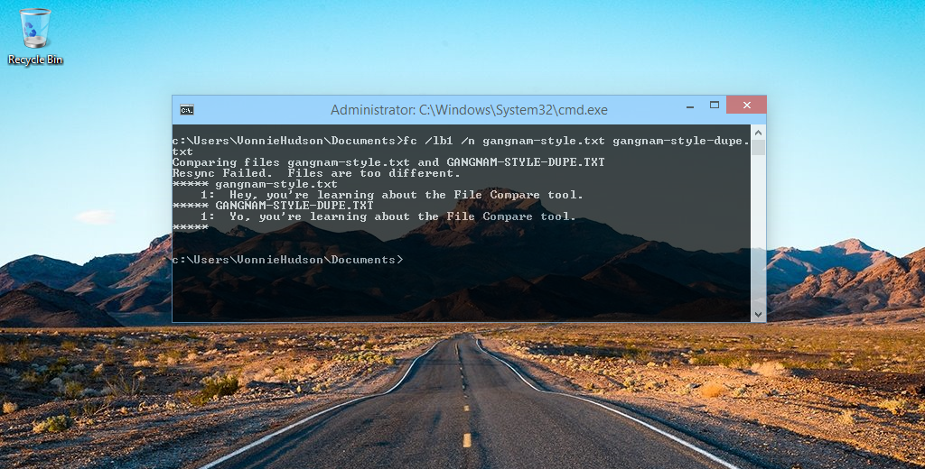 fc.exe with line numbers using /n