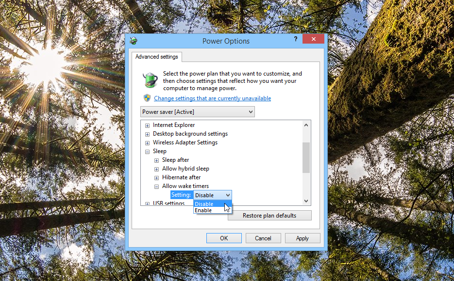 Allow wake timers in Windows Power Options