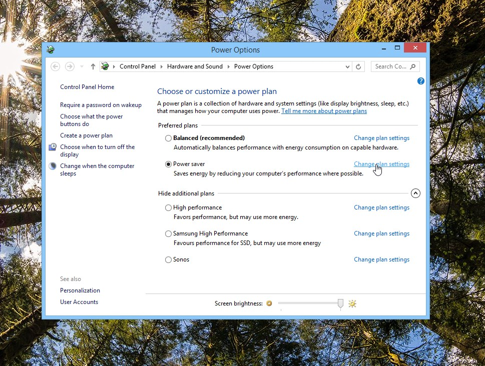 Windows 8.1 change plan settings