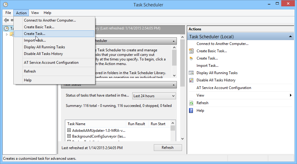 Using the Task Scheduler to Create a Task