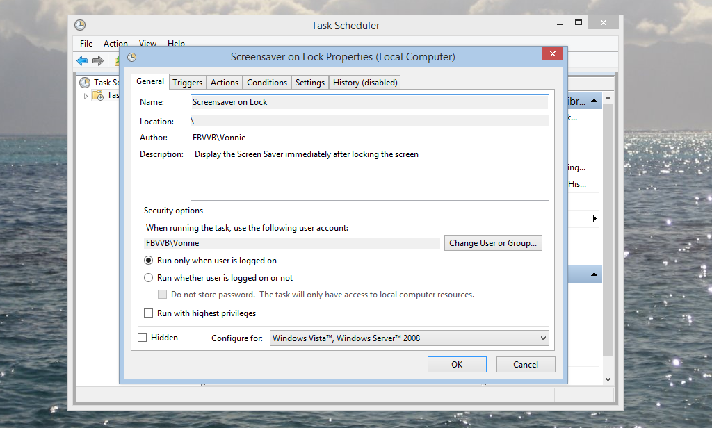 General Tab in Task Scheduler