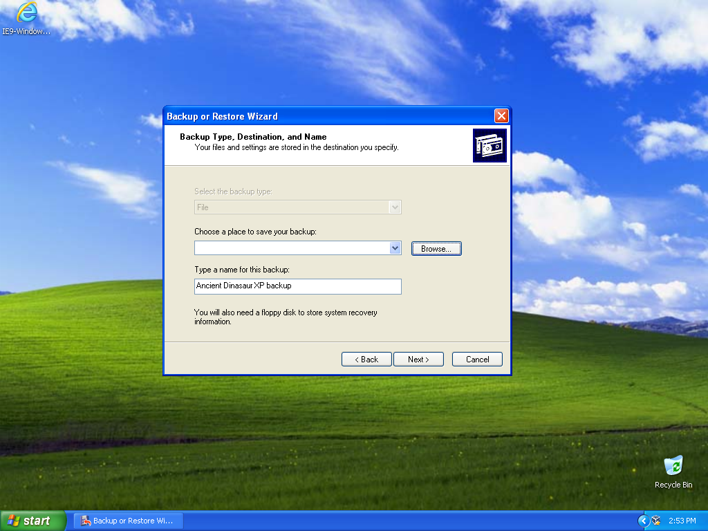The Backup and Restore Wizard in Windows XP