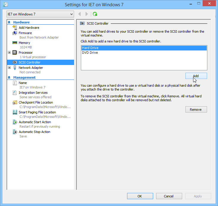 Add Hard Drive to Virtual Machine