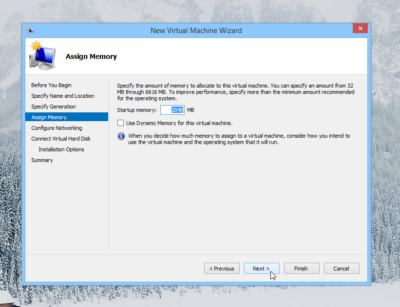 Assign Memory to Virtual Machine