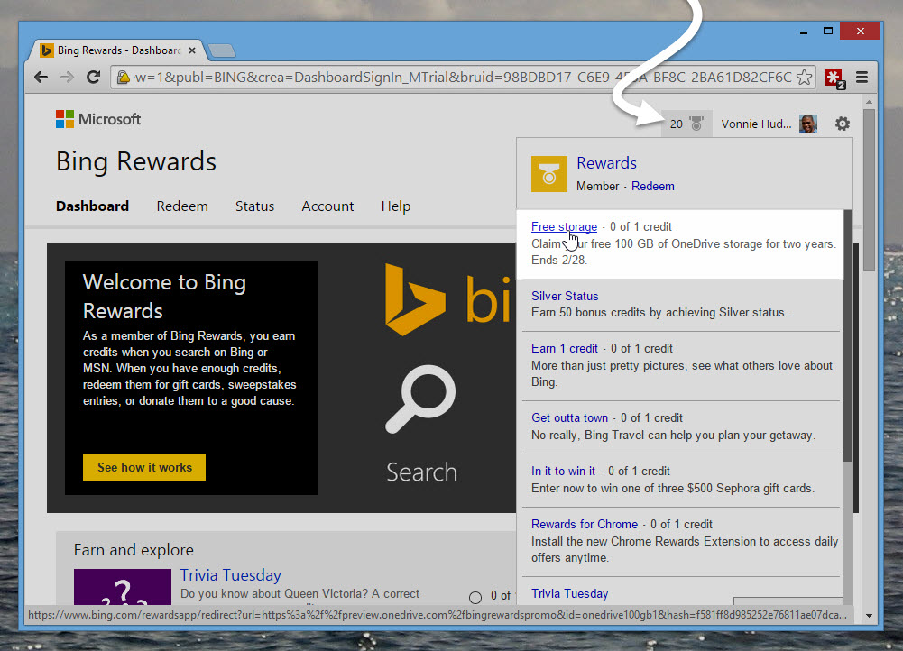 How to participate in the Bing Rewards Program to get 100GB of free OneDrive space