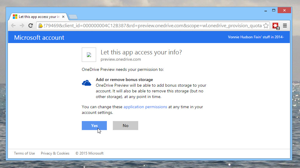 Allow the OneDrive Preview app to add bonus storage to your account