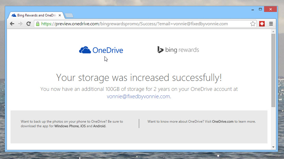 OneDrive storage added successfully confirmation page