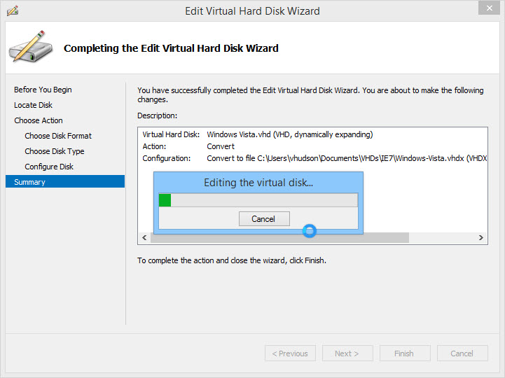 Converting a .VHD to a .VHDX in Hyper-V