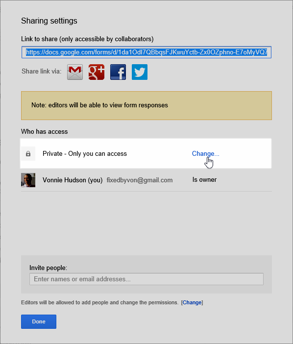 Google Forms Sharing Settings