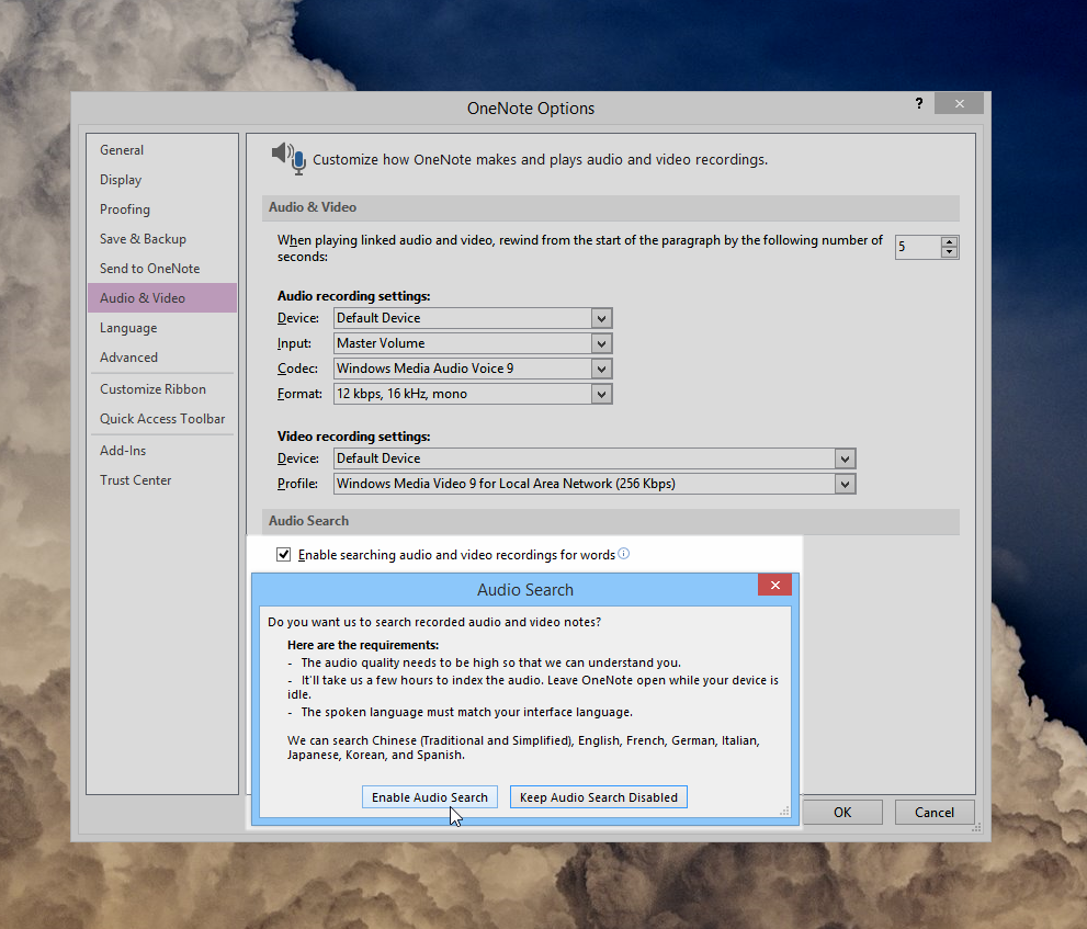 Using Audio Search in OneNote 2013