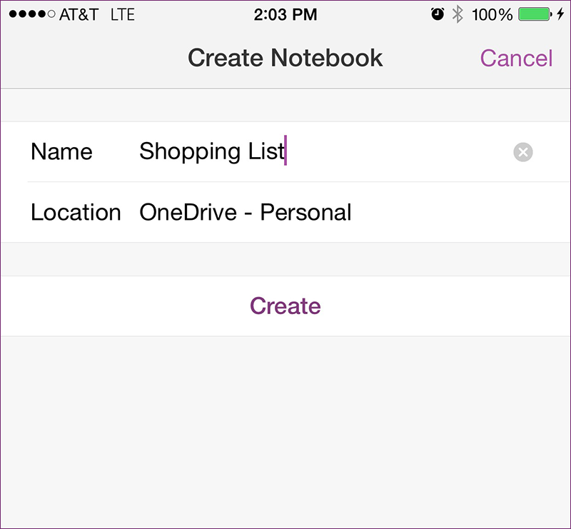 Create new OneNote Notebook in iOS8
