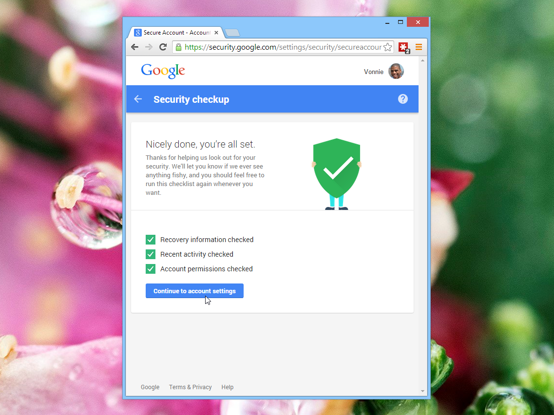 Google Security Checkup Complete