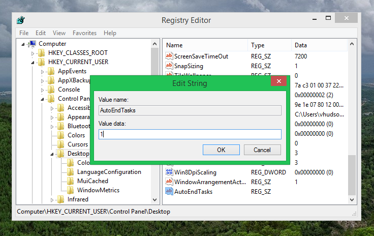 Adding AutoEndTasks to registry