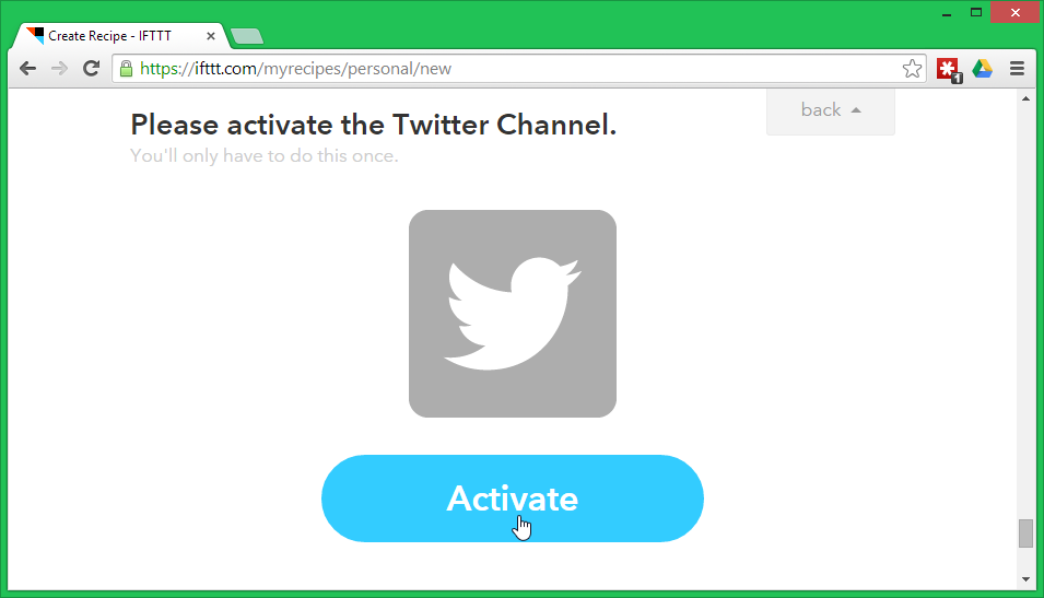Activate your Twitter channel in IFTTT