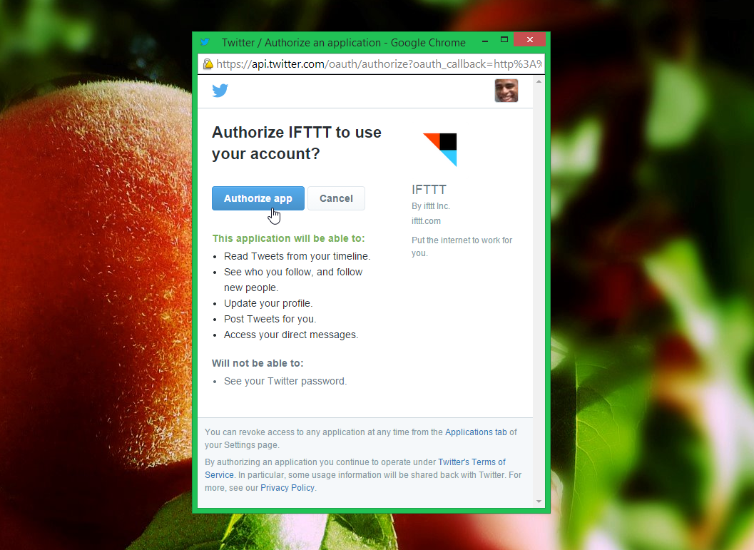 Authorize the IFTTT app