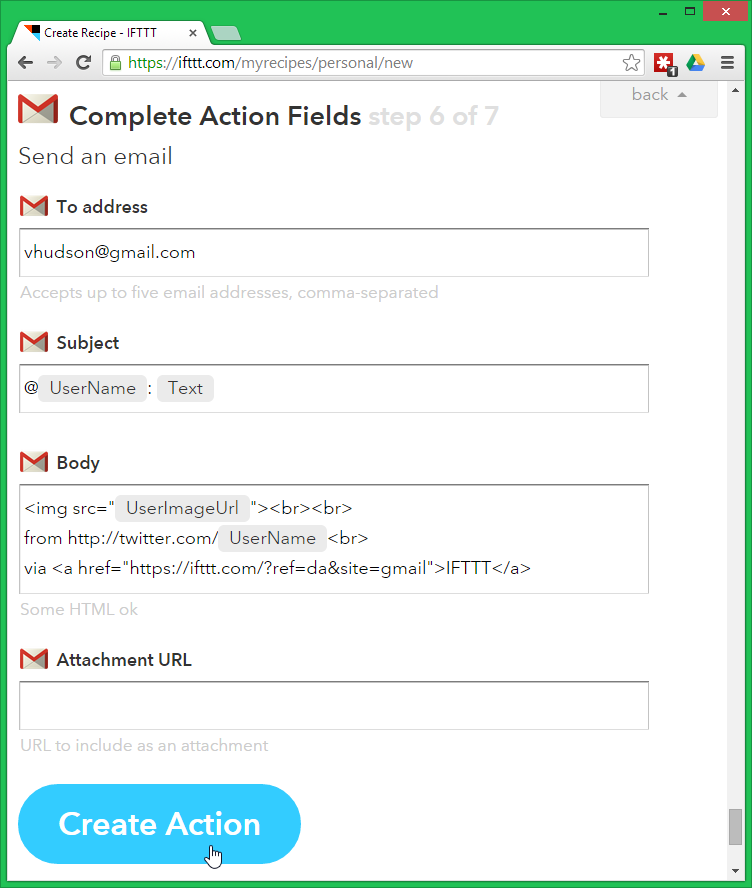Complete action fields