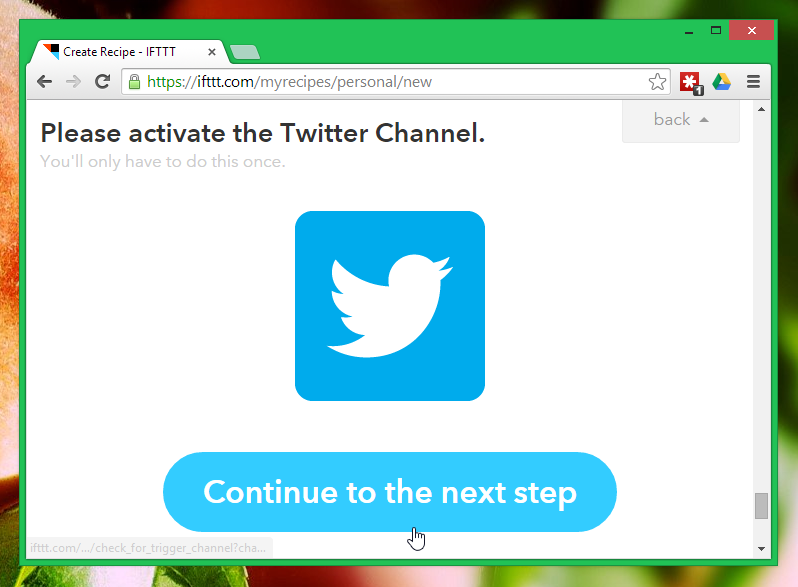 Continue to the next step in IFTTT