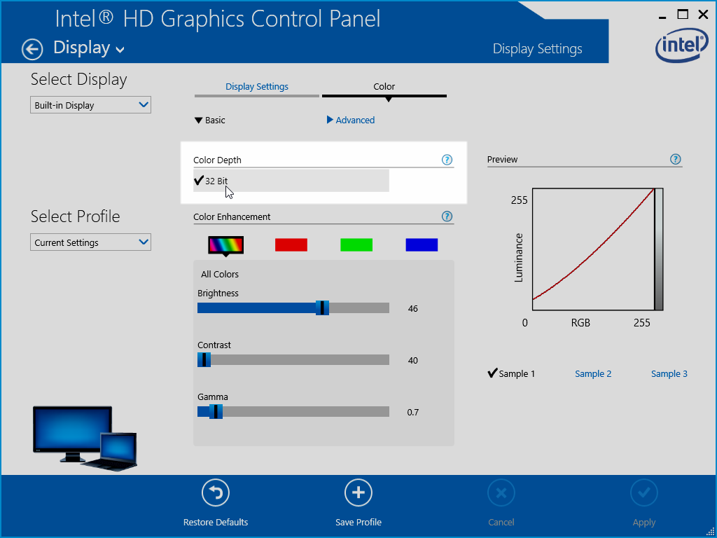 Intel HD Graphics Control