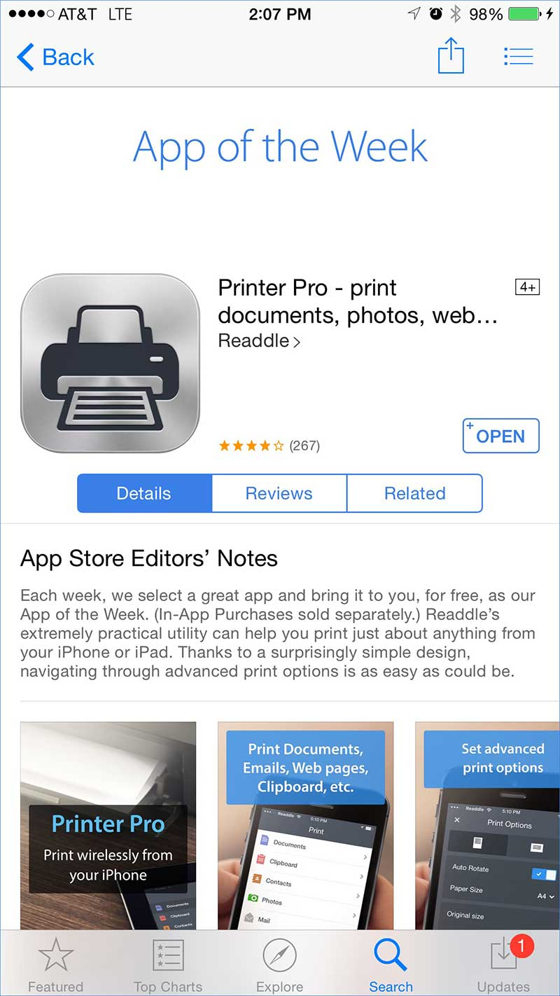 Installing Printer Pro from the App store