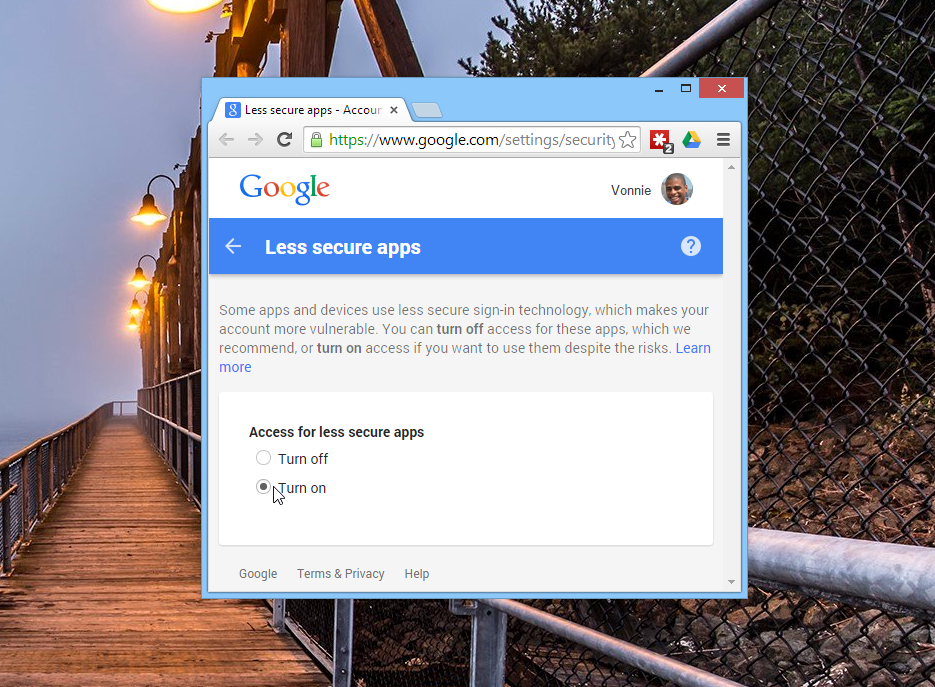 Allow less secure apps in Google