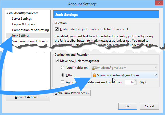 Change your Thunderbird junk settings to Google Spam folder