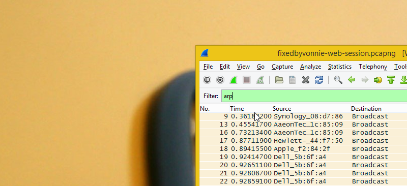 ARP filters in Wireshark
