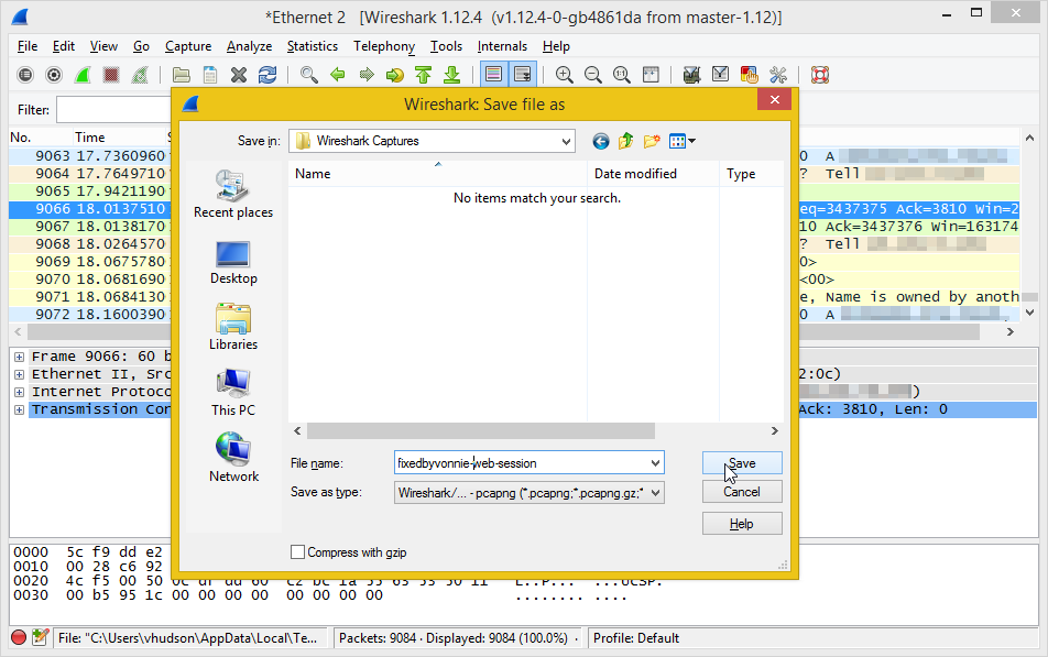 Saving wireshark captures