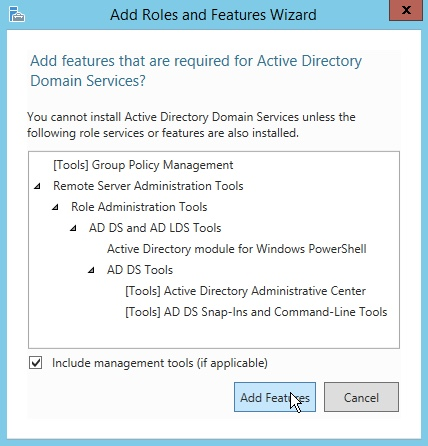 Add Active Directory Domain Features