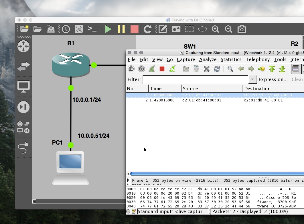 Wireshark capturing traffic in GNS3