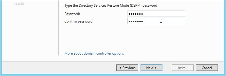 Windows Server 2012 Directory Services Restore Mode