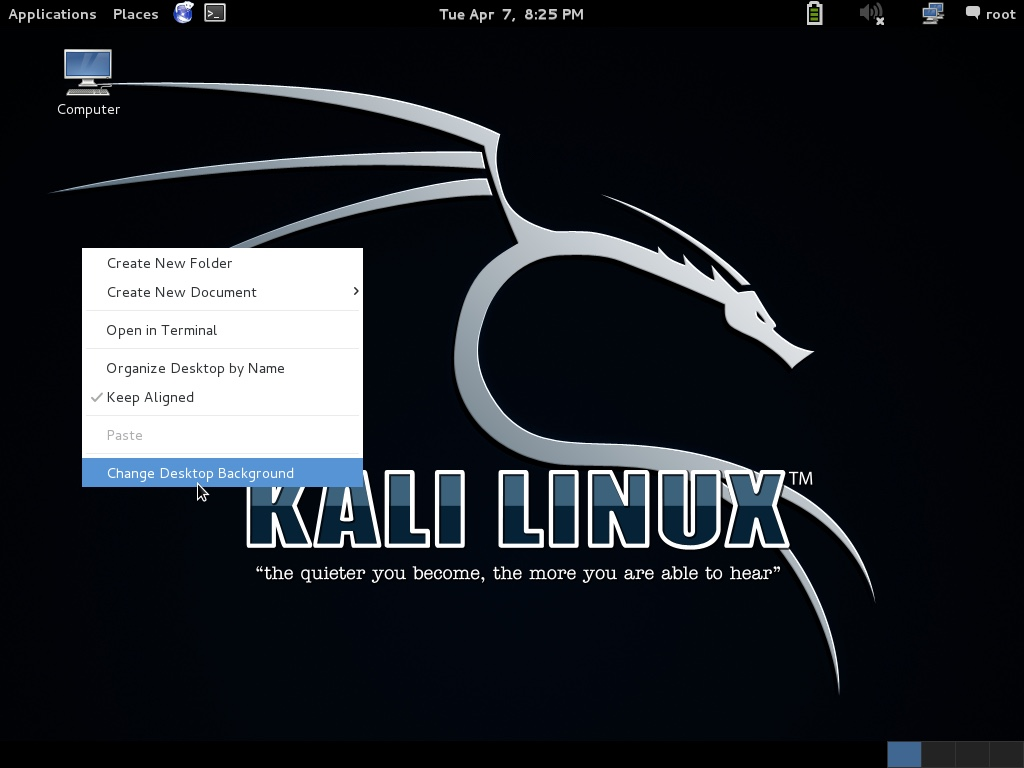 Change desktop background in Kali Linux
