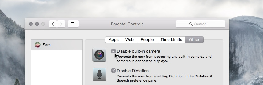 Disable built in iSight