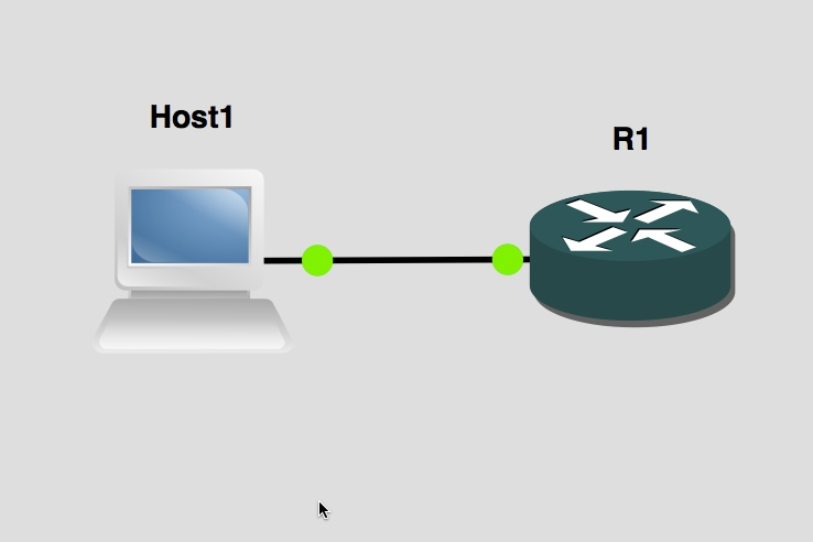 Host1 connected to R1 in GNS3