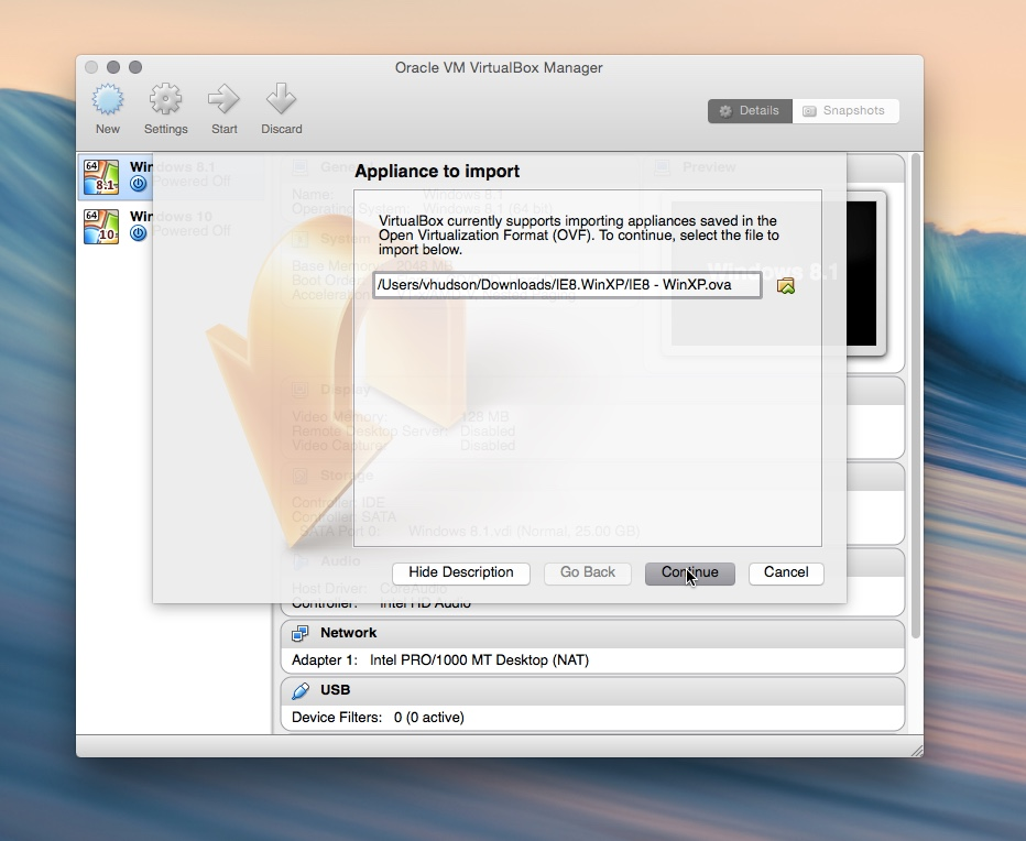 Import VirtualBox appliance