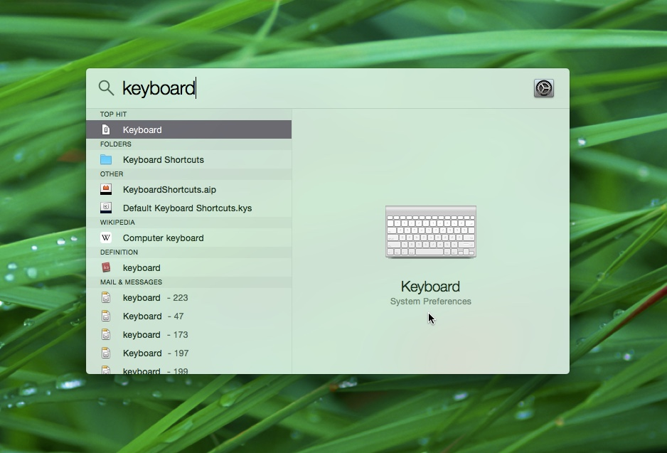 Mac OS X with Spotlight and the Keyboard app