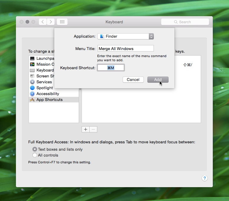 Mac OS X merge all windows shortcut