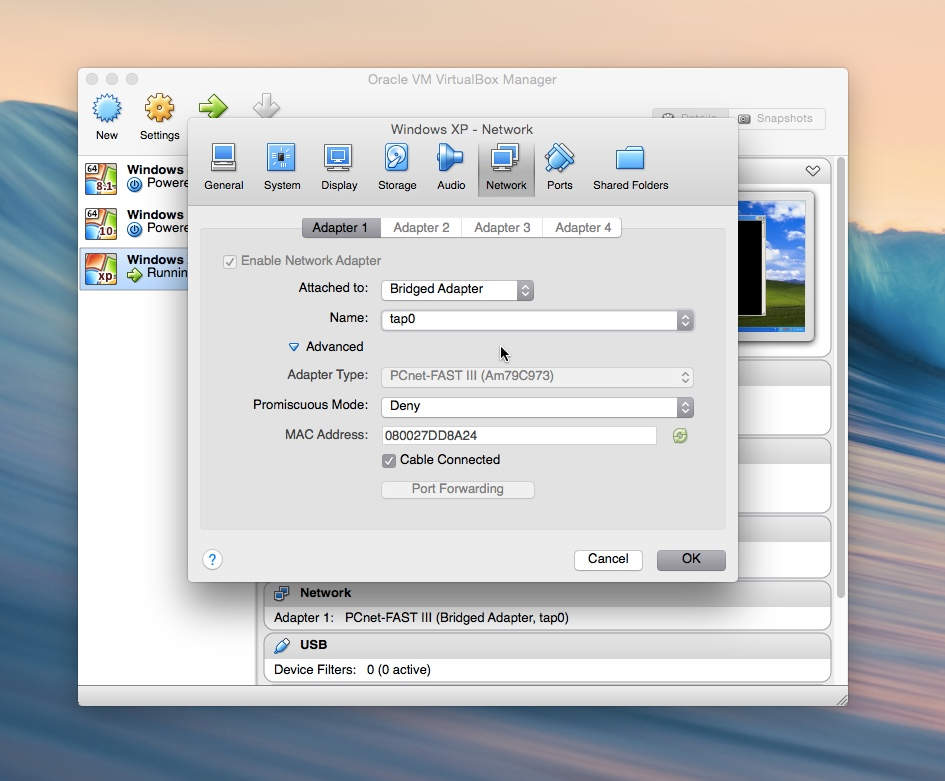 Connecting a VirtualBox machine to GNS3 in Mac OS X Yosemite