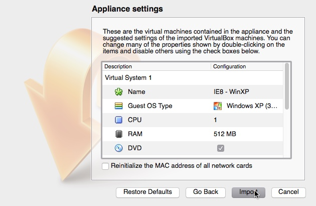 Virtual Appliance import settings