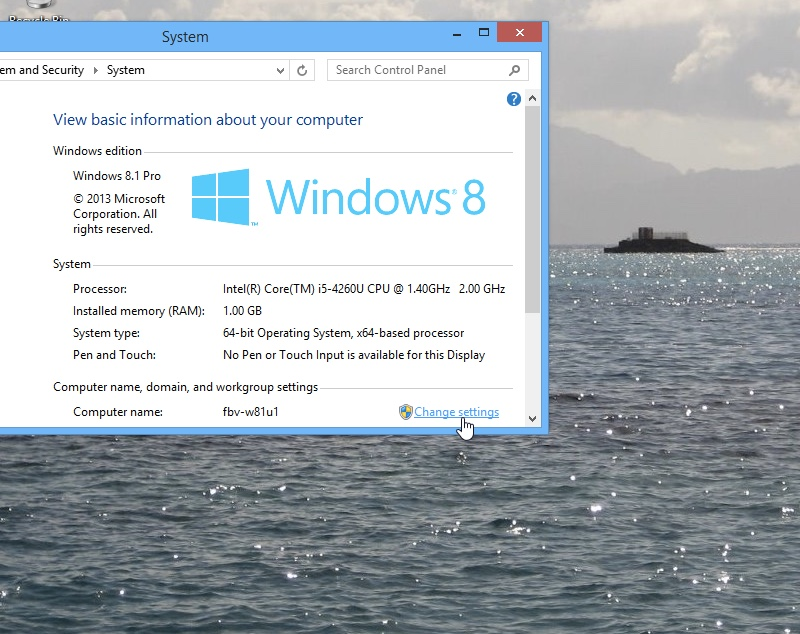Windows 8.1 Change System Settings