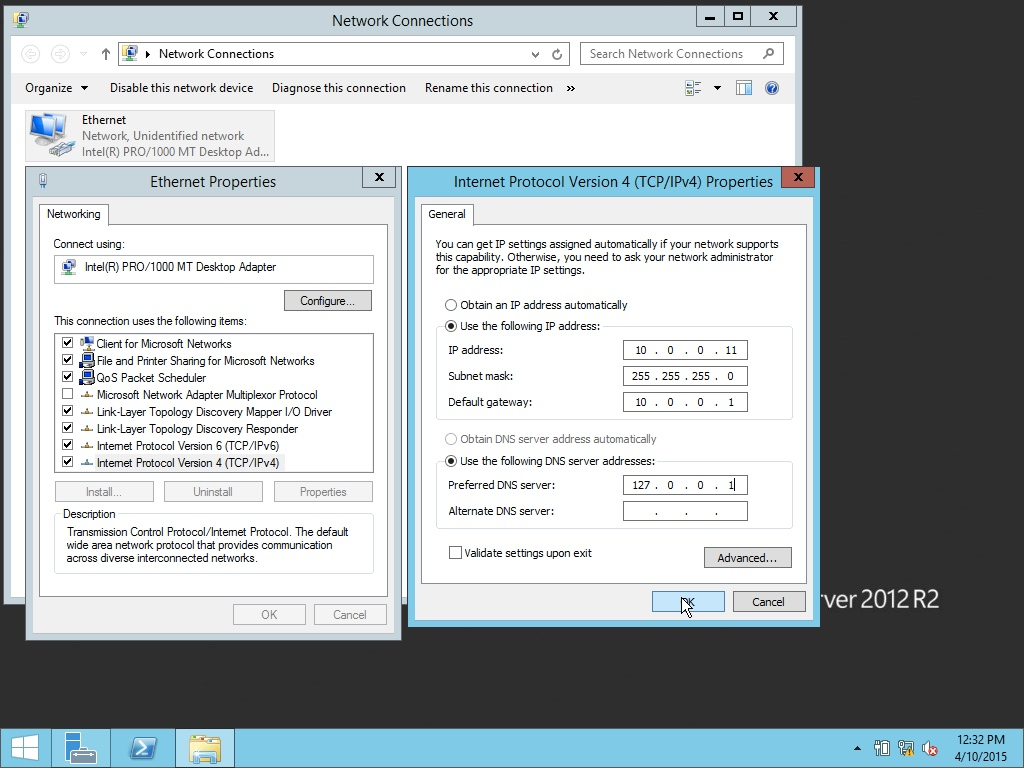 Windows Server 2012 settings for VirtualBox
