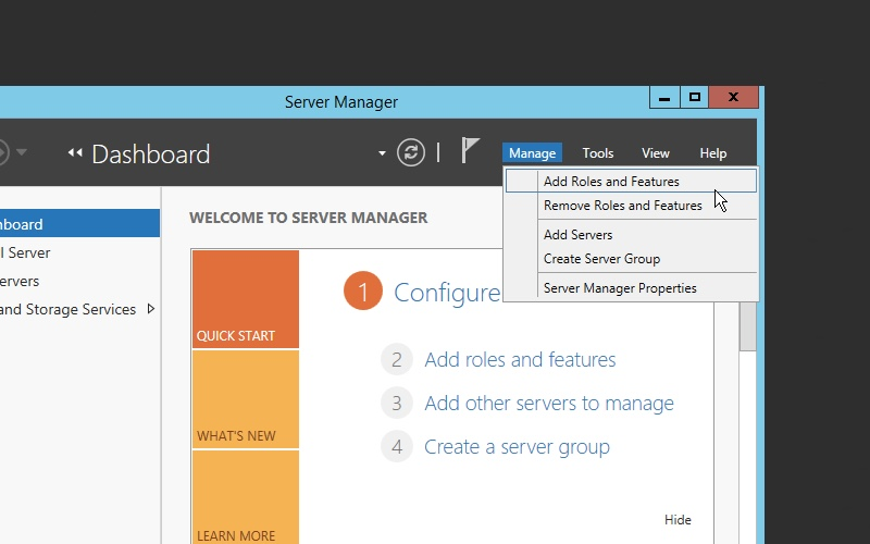 Adding Roles and Features in Windows Server 2012 R2