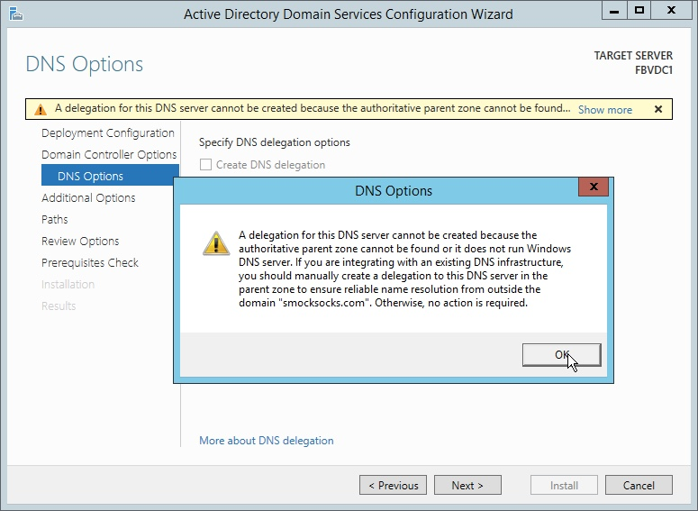 Windows Server DNS Options error
