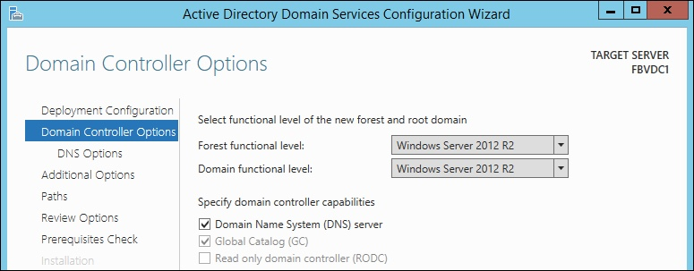 Windows Server 2012 Domain Controller Options