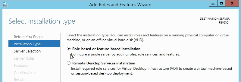 Windows Server 2012 R2 Installation Type