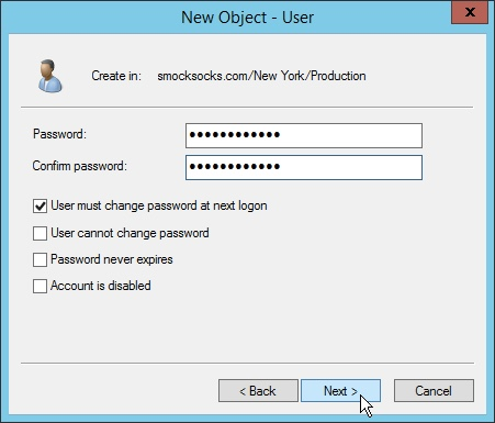 Creating the password for the New User Object in Windows Server 2012