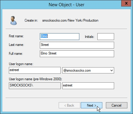 Creating a New User Object in Windows Server 2012