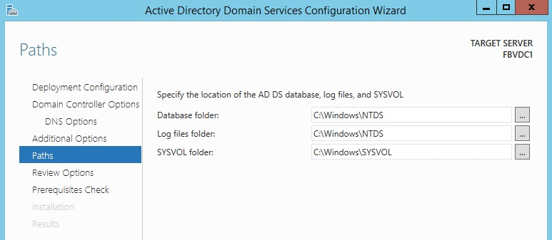 Windows Server 2012 Server Paths