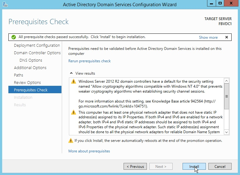 Windows Server 2012 Prerequisites