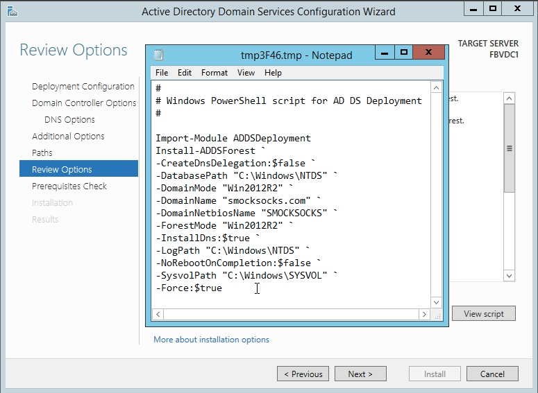 Windows Server 2012 Review Options and Powershell Script