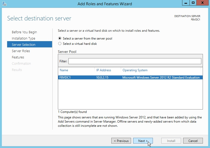Windows Server 2012 Select a Destination Server